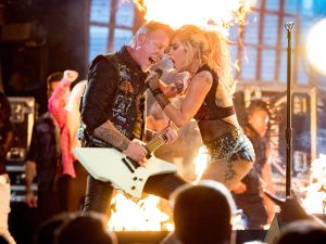 James Hetfield of Metallica and Lady Gaga perform onstage during The 59th GRAMMY Awards at STAPLES Center on February 12, 2017 in Los Angeles, California.