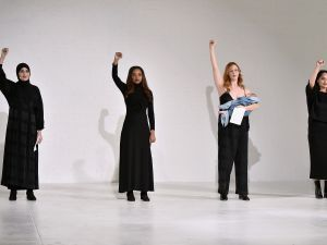 Group of diverse women on the runway for the Mara Hoffman collection during NYFW