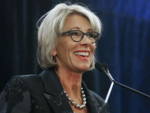 WASHINGTON, DC - FEBRUARY 15: Education Secretary Betsy DeVos speaks at the Magnet Schools Of America Conference on February 15, 2017 in Washington, DC. DeVos addressed a recent protest at a public school she visited in Washington, DC last week following her controversial nomination to the post by President Donald Trump.