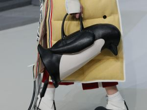 A penguin-shaped duffle