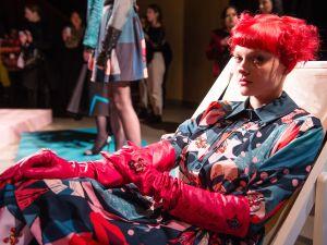 A model poses at the Roberta Einer presentation during London Fashion Week