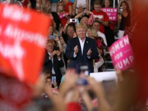 MELBOURNE, FL - FEBRUARY 18: President Donald Trump speaks during a campaign rally at the AeroMod International hangar at Orlando Melbourne International Airport on February 18, 2017 in Melbourne, Florida. President Trump is holding his rally as he continues to try to push his agenda through in Washington, DC.