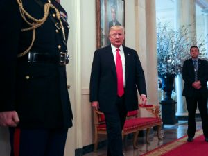 WASHINGTON, DC - FEBRUARY 27: (AFP OUT) U.S. President Donald Trump stops by the National Governors Association meeting in the State Dining Room of the White House February 27, 2017 Washington, DC.