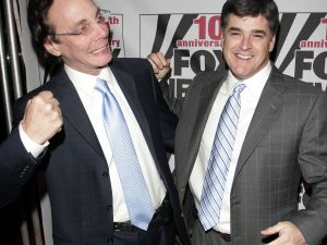 Alan Colmes and Sean Hannity attend the Fox News Channel 10th Anniversary celebration on October 4, 2006 in New York City.