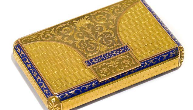 Swiss blue-enameled gold box.