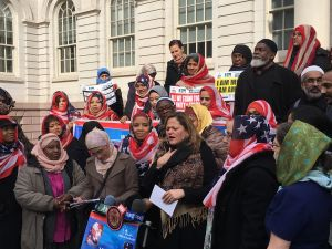 City Council Speaker Melissa Mark-Viverito praised the contributions of Muslim women at the annual World Hijab Day celebration in front of City Hall today.