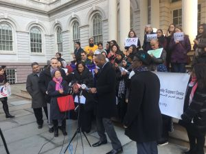 The City Council's Progressive Caucus vowed that it would fight President Donald Trump's executive orders in front of the City Hall Steps this afternoon.