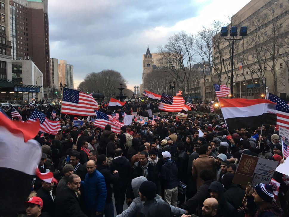 Yemeni Bodega Owners Rally Against Donald Trump's Muslim Travel Ban in Brooklyn