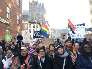 Thousands of New Yorkers participated in an LGBT solidarity rally at the Stonewall National Monument against President Donald Trump's executive orders.