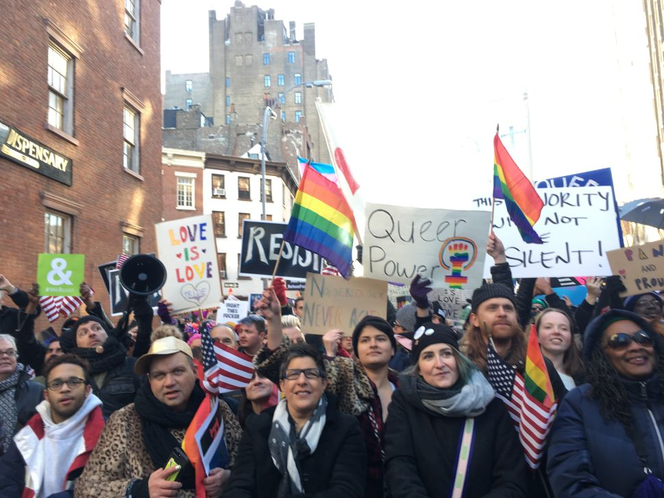 LGBT Pols and Activists Rally Against Trump's Executive Orders Outside Stonewall