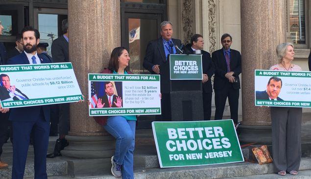 Jeff Tittel of the NJ Sierra Club speaks at a rally ahead of Christie's final budget address.