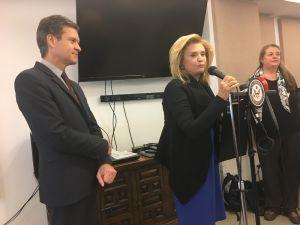 Congresswoman Carolyn Maloney speaks at the Stein Senior Center in Manhattan.