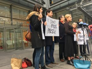 Congresswoman Carolyn Maloney, civil rights attorney Norman Siegel and other lawyers and advocates protest President Donald Trump's attack on reporters in front of the New York Times building.