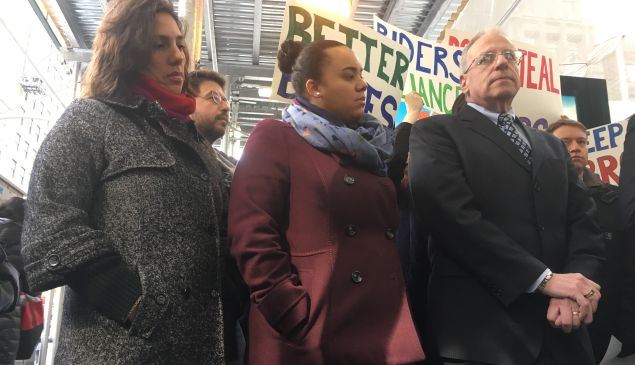Veronica Vanterpool, executive director of the Tri-State Transportation Campaign; Assemblywoman Carmen de la Rosa; and Assemblyman Jeffrey Dinowitz at a press conference blasting Gov. Andrew Cuomo's MTA budget cut.