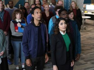 Danny Pudi as Teddy, Vanessa Hudgens as Emily and Ron Funches as Ron.