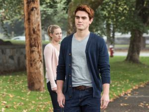 Lili Reinhart as Betty Cooper and KJ Apa as Archie Andrews.