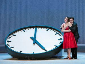 "Time is running out for Violetta (Sonya Yoncheva) and Alfredo (Michael Fabiano) in 'La Traviata""."