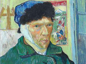 Van Gogh's self-portrait with bandaged ear.