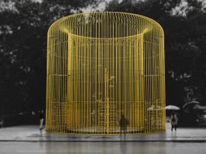 A rendering for Ai Weiwei's Good Fences Make Good Neighbors, a project with the Public Art Project coming to New York in October 2017.