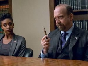 Condola Rashad as Kate Sacker and Paul Giamatti as Chuck Rhoades.