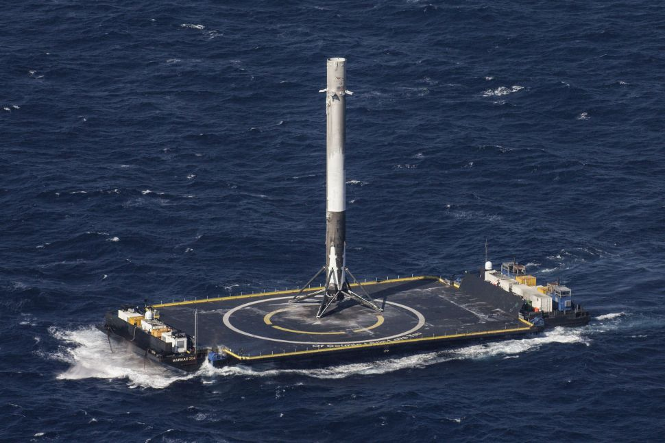 A recovered Falcon 9 booster that will be the first to be reflown by SpaceX.