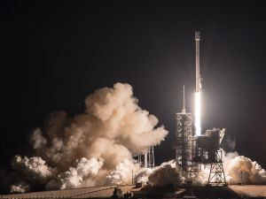 SpaceX launches an expendable Falcon 9 rocket at Kennedy Space Center.