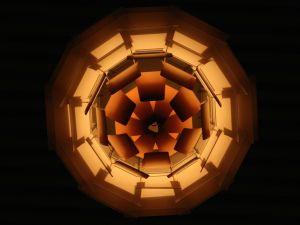 Poul Henningsen's Artichoke Lamp, viewed from below at London's Park Plaza Hotel.