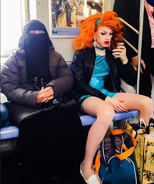 Conservative Gets Dragged by Twitter Over Photo of Drag Queen, Muslim on the Subway