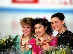 Tonya Harding, Kristi Yamaguchi and Nancy Kerrigan in 1991.