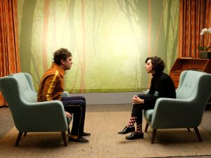 Dan Stevens as David Haller and Aubrey Plaza as Lenny Busker.