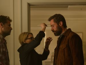 Joel Harlow and Hugh Jackman on the set of Logan.