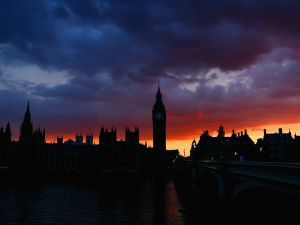 The Houses of Parliament and Big Ben viewed at sunset on July 21, 2012 in London, England.