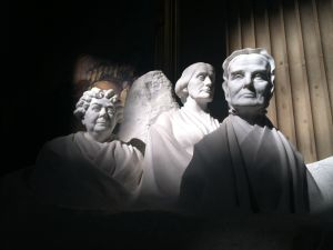 Statues of pioneers for women's suffrage Elizabeth Cady Stanton, Susan B. Anthony, and Lucretia Mott are seen in the US Capitol Rotunda.