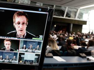 NSA whistleblower Edward Snowden speaks to European officials via videoconference during a parliamentary hearing on mass surveillance.