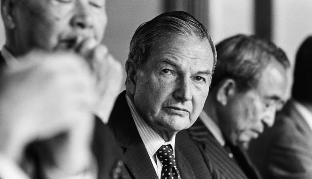 TOKYO, JAPAN -- CIRCA 1981: Chairman of the Chase Manhattan Corporation, David Rockefeller (center), during a meeting circa 1981 in Tokyo, Japan.