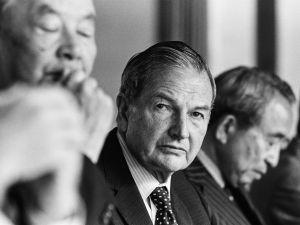 TOKYO, JAPAN -- CIRCA 1981: Chairman of the Chase Manhattan Corporation, David Rockefeller (center), during a meeting circa 1981 in Tokyo, Japan.