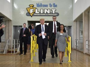 Donald Trump tours the Flint water plant on September 14, 2016 in Flint, Mich.