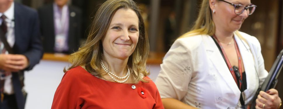 Canadian Minister of International Trade Chrystia Freeland arrives for the EU-Canada summit meeting on October 30, 2016 at the European Union headquarters in Brussels. After a chaotic drama in which a small Belgian region threatened to sink a giant trade deal seven years in the making, the European Union and Canada will finally sign on the dotted line on October 30. Canadian Prime Minister Justin Trudeau agreed at the last minute to fly to Brussels to ink the landmark pact known as CETA at a summit with European Union President Donald Tusk and European Commission head Jean-Claude Juncker. / AFP / BELGA / NICOLAS MAETERLINCK / Belgium OUT