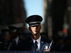 A member of the U.S. Air Force marches in the Veterans Day Parade in New York City on November 11, 2016.