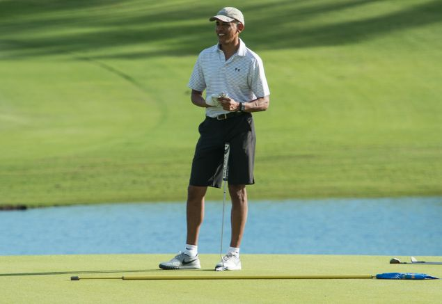 And here he is playing golf this past Christmas in Hawaii.