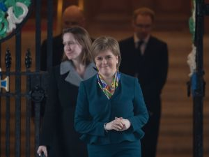 CARDIFF, WALES - JANUARY 30: Scotland's First Minister Nicola Sturgeon leaves Cardiff City Hall following a joint ministerial committee (JMC) which includes the leaders from Westminster, Cardiff, Edinburgh and Belfast on January 30, 2017 in Cardiff, Wales. The Prime Minister visit to Cardiff today is the first meeting of the Joint Ministerial Committee since she announced her intention to negotiate a 'hard' Brexit.