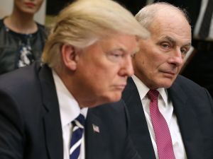 President Donald Trump with Gen. John Kelly, Secretary of the Department of Homeland Security.