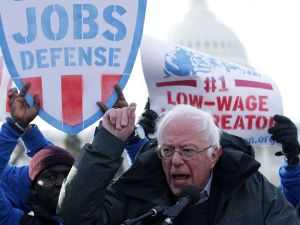 "Sen. Bernie Sanders speaks during a rally ""to fight-back against the Republican war on the working class."""