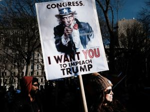 NEW YORK, NY - FEBRUARY 17: Protesters critical of President Donald Trump attend an afternoon rally to show solidarity with a general strike in Washington Square Park on February 17, 2017 in New York City. Across the country protests continue in reaction to the policies of the Trump administration.