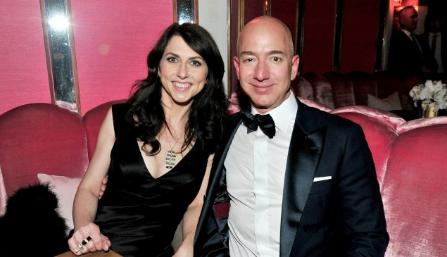 (L-R) CEO of Amazon Jeff Bezos and writer MacKenzie Bezos attend the Amazon Studios Oscar Celebration at Delilah on February 26, 2017 in West Hollywood, California.
