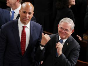 WASHINGTON, DC - FEBRUARY 28: Sen. Cory Booker (D-NJ) and Sen. Bob Menendez (D-NJ) arrive to a joint session of the U.S. Congress on February 28, 2017 in the House chamber of the U.S. Capitol in Washington, DC.