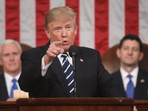 US President Donald J. Trump delivers his first address to a joint session of Congress from the floor of the House of Representatives in Washington, DC, USA, 28 February 2017.
