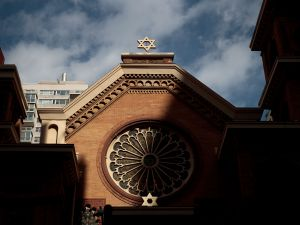 The Star of David stands atop the Park East Synagogue in New York City.
