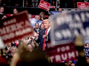 President Donald Trump speaks at a rally on March 15, 2017 in Nashville, Tennessee.