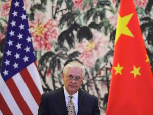 Secretary of State Rex Tillerson speaks during a joint press conference with Chinese Foreign Minister Wang Yi (not pictured) on March 18, 2017 in Beijing, China.